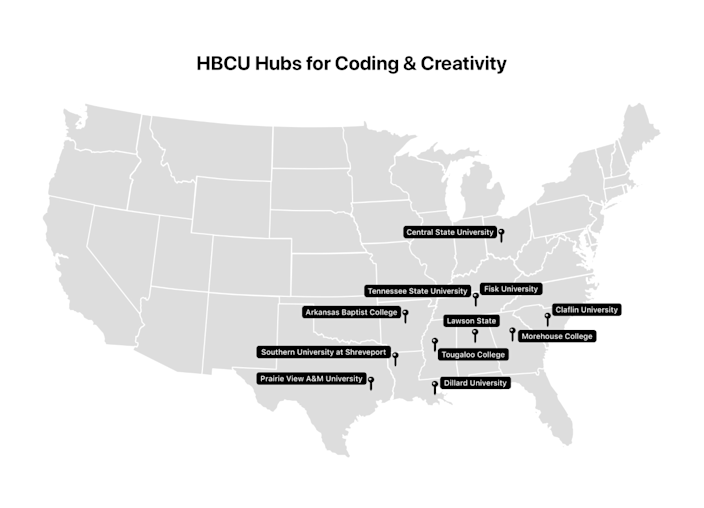 Apple's Community Education Initiative extends to 12 HBCUs across the US.