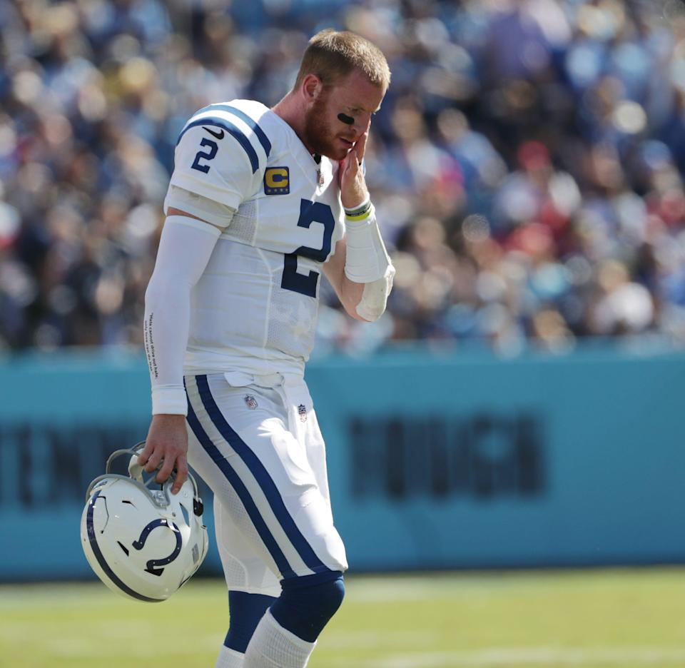Colts QB Carson Wentz played despite two sprained ankles.