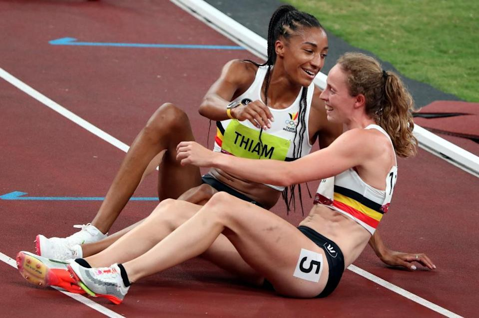 Nafi Thiam and Noor Vidts react after the 800m race. Vidts narrowly missed out on a medal.
