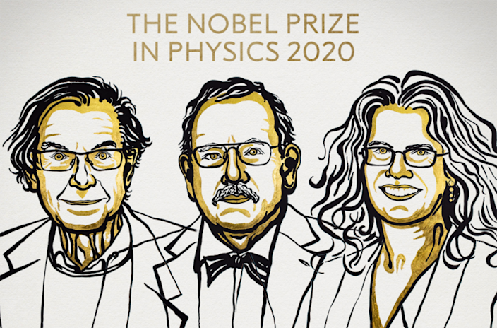 Image: Scientists Roger Penrose, Reinhard Genzel and Andrea Ghez were awarded the Nobel Prize for physics on Tuesday for discoveries about black holes in the galaxy.