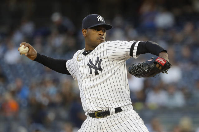 New York Yankees' Luis Serverino delivers a pitch during the first inning of a baseball game against the Los Angeles Angels Tuesday, Sept. 17, 2019, in New York. (AP Photo/Frank Franklin II)