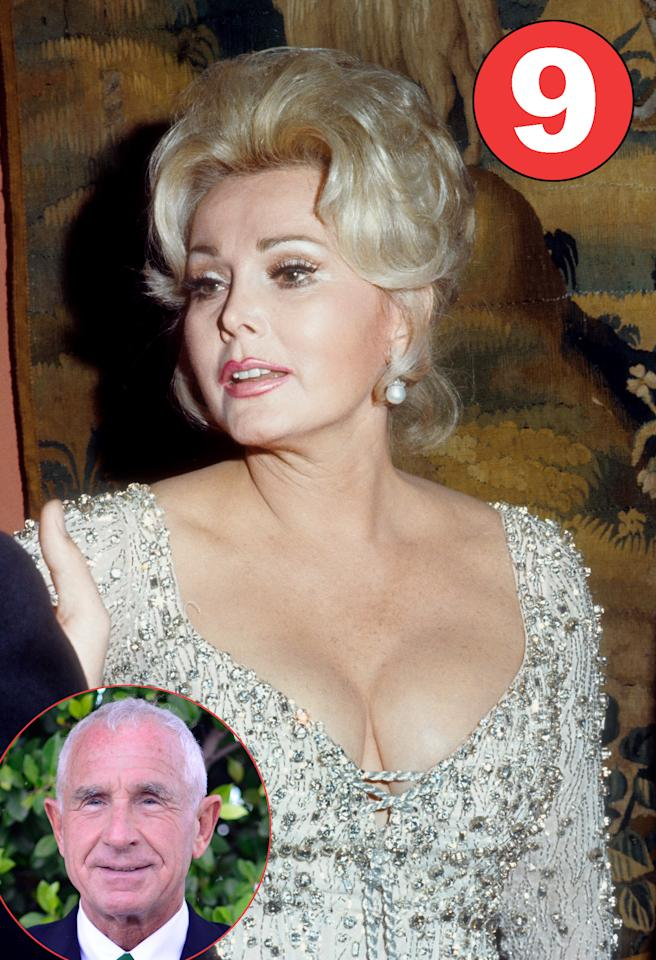 "Hungarian-born Zsa Zsa Gabor, 96, made marrying an art, and perfected her craft nine times! The socialite kept a good humor about her many unions, famously quipping, ""I am a marvelous housekeeper: Every time I leave a man I keep his house."" Her husbands include Turkish diplomat Burhan Asaf Belge (1937-1941), hotel magnate Conrad Hilton (1942–1947), actor George Sanders (1949–1954), investment banker Hurbert Hutner (1962–1966), oilman Joshua S. Cosden Jr. (1966–1967), Barbie designer Jack Ryan (1975-1976), and, appropriately enough, divorce lawyer Michael O'Hara (1976-1983). Her one-day marriage to Mexican playboy Felipe de Alba in 1983 was the shortest — annulled because she was not yet legally divorced from O'Hara, while Gabor's current marriage to German socialite Frederic Prinz von Anhalt (pictured) has been the longest. The pair said ""I do"" in 1986. (Credit: Michael Ochs Archives/Getty Images)"