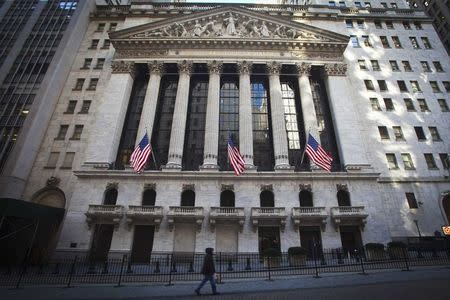 The New York Stock Exchange exterior is pictured in the Manhattan borough of New York January 5, 2015. REUTERS/Carlo Allegri