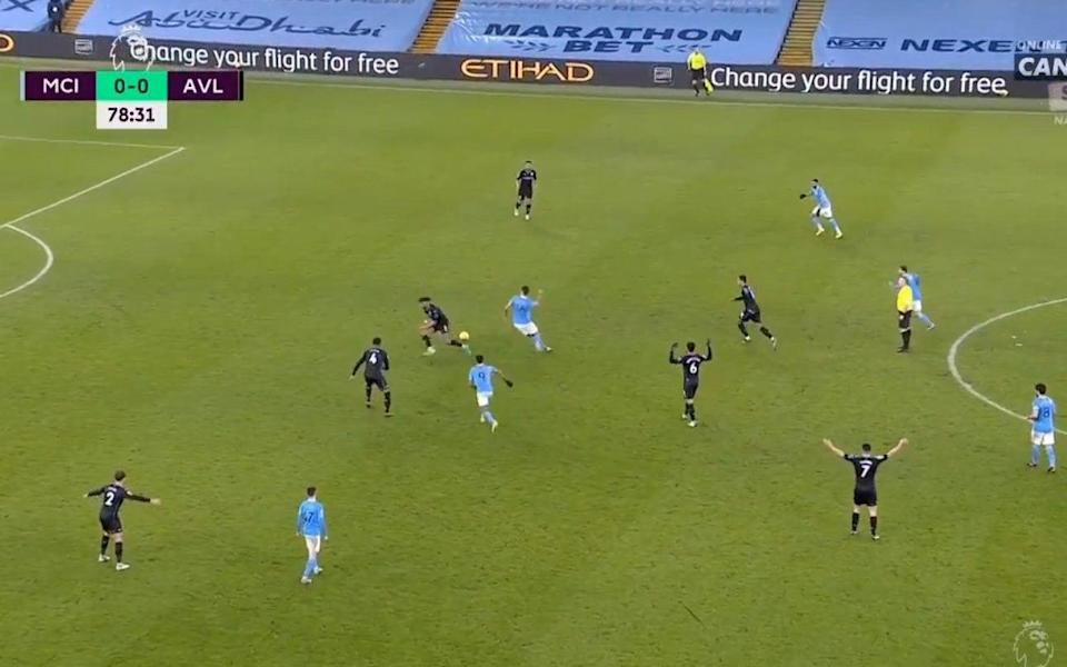 By the time Mings controls the ball, Rodri has raced back to steal possession from him - -/-