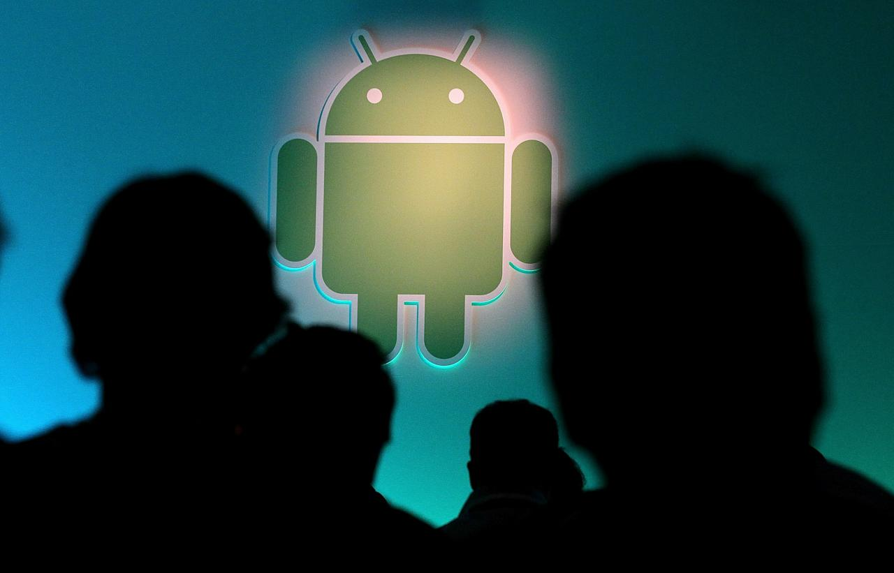 MOUNTAIN VIEW, CA - FEBRUARY 02:  The Android logo is displayed during a press event at Google headquarters on February 2, 2011 in Mountain View, California.  Google unveiled its Android Honeycomb operating system, the first Android operating system designed specifically for tablets.  (Photo by Justin Sullivan/Getty Images)