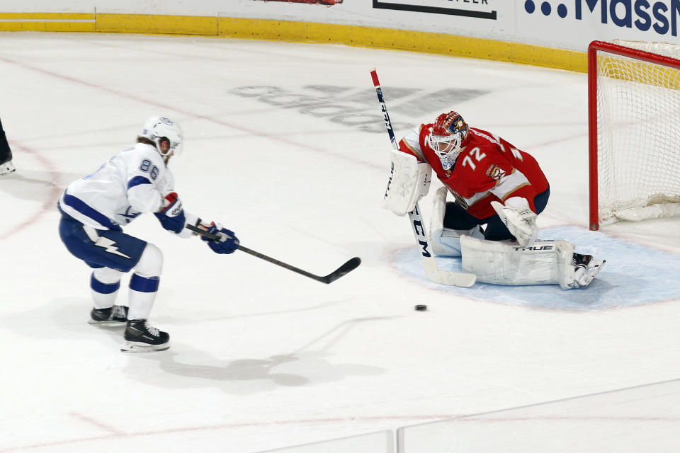 Florida Panthers goaltender Sergei Bobrovsky (72) stops a breakaway shot by Tampa Bay Lightning right wing Nikita Kucherov (86) during the first period in Game 1 of an NHL hockey Stanley Cup first-round playoff series, Sunday, May 16, 2021, in Sunrise, Fla. (AP Photo/Joel Auerbach)