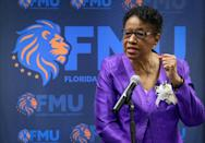 """Barbara Jordan delivers her remarks regarding her leadership, service, and legacy during the unveiling ceremony of FMU's """"Barbara J. Jordan Commissioner of Excellence Collection"""" on Wednesday, September 15, 2021. Former Miami-Dade Commissioner Barbara Jordan was honored by Florida Memorial University with the unveiling of the """"Barbara J. Jordan Commissioner of Excellence Collection"""" inside the Nathan W. Collier Library at Florida Memorial University in Miami Gardens, Florida."""