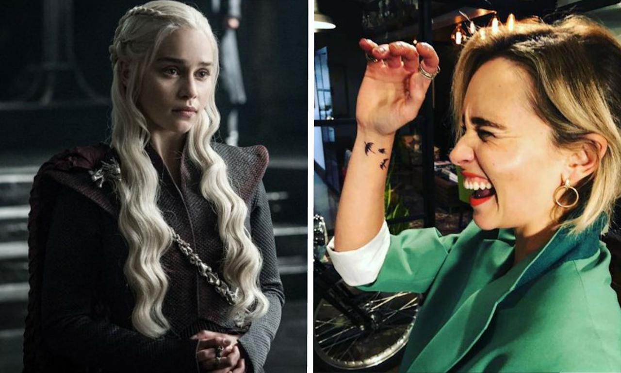 <p>Emilia Clarke is probably always going to be remembered for playing the Mother of Dragons herself, Daenerys Targaryen, even if the final season of <i>Game Of Thrones</i> turns out to be rubbish (please don't let it be rubbish). So, it's fitting that she's marked the role by marking herself – with a permanent tattoo of the three dragons that her character raised from eggs. (HBO/Instagram) </p>