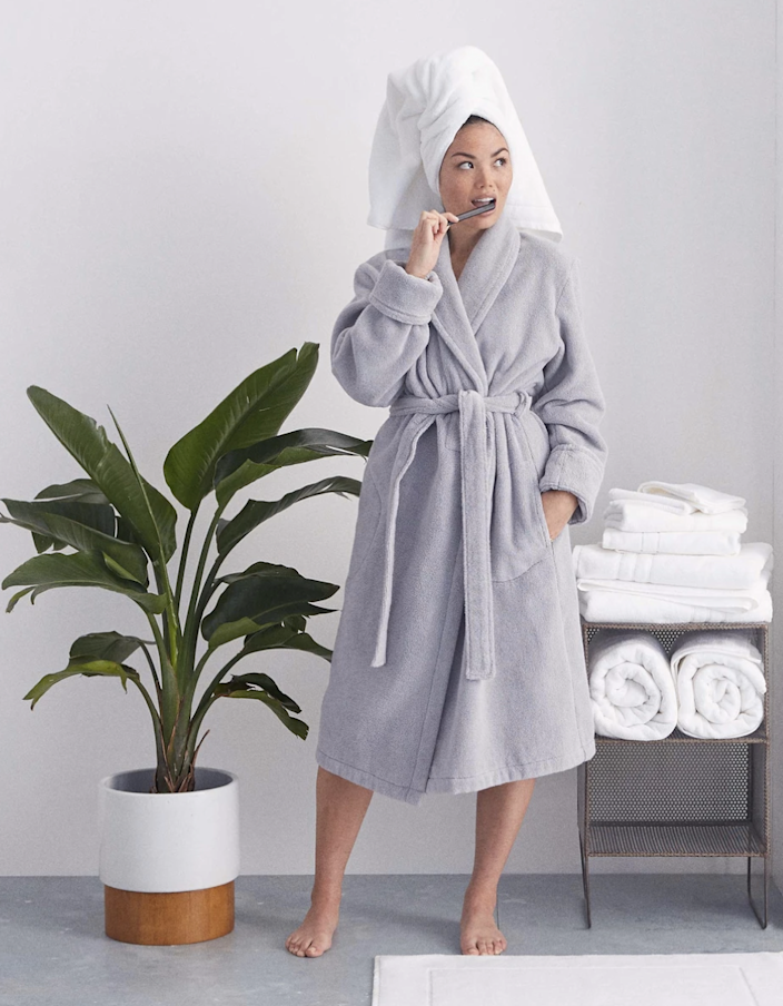 "Brooklinen's bestselling robe lives up to its ""super plush"" name: It's made of a thick Turkish cotton that's warm and absorbent. The chunky waist-tie and deep front pockets make this one of the best bathrobes in town. $98, Brooklinen. <a href=""https://www.brooklinen.com/collections/gs/products/super-plush-robe?"" rel=""nofollow noopener"" target=""_blank"" data-ylk=""slk:Get it now!"" class=""link rapid-noclick-resp"">Get it now!</a>"