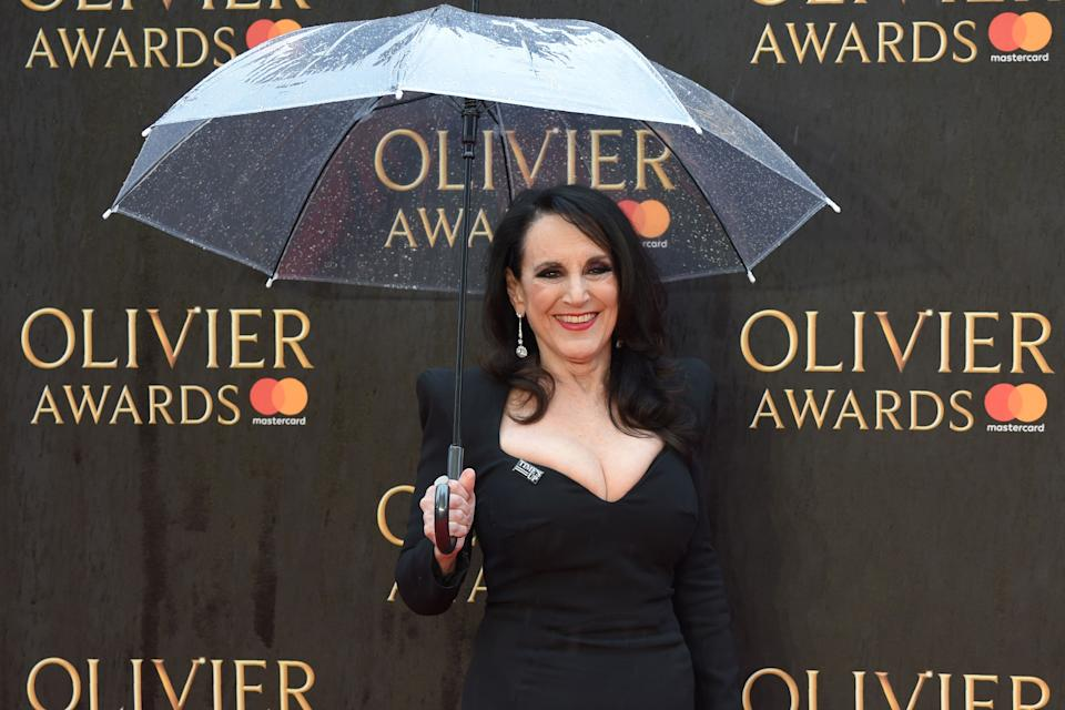 British actress Lesley Joseph poses on the red carpet upon arrival to attend The Olivier Awards at the Royal Albert Hall in central London on April 8, 2018. / AFP PHOTO / Anthony HARVEY        (Photo credit should read ANTHONY HARVEY/AFP via Getty Images)
