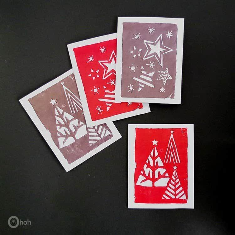 """<p>For more flexibility than a traditional stamp set can offer, make your own holiday stamps out of foam sheets. </p><p><em>Get the tutorial at <a href=""""https://www.ohohdeco.com/stamped-greeting-cards"""" rel=""""nofollow noopener"""" target=""""_blank"""" data-ylk=""""slk:Oh Oh Deco"""" class=""""link rapid-noclick-resp"""">Oh Oh Deco</a>.</em> </p><p><a class=""""link rapid-noclick-resp"""" href=""""https://www.amazon.com/Colorful-Assorted-Handicraft-Crafting-Projects/dp/B087P3XKBD?tag=syn-yahoo-20&ascsubtag=%5Bartid%7C10072.g.34351112%5Bsrc%7Cyahoo-us"""" rel=""""nofollow noopener"""" target=""""_blank"""" data-ylk=""""slk:SHOP FOAM SHEETS"""">SHOP FOAM SHEETS</a></p>"""