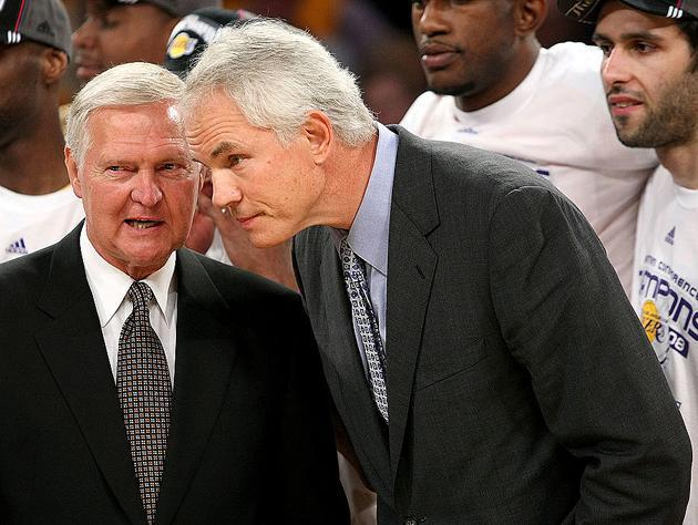 Mitch Kupchak and Jerry West. (Getty Images)