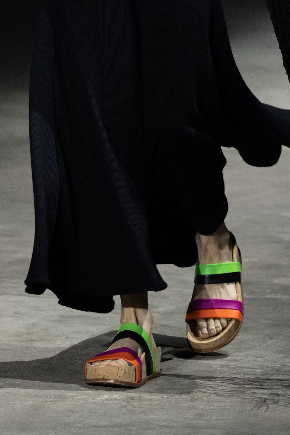 <p>To align with the overall effortlessly chic feel of its spring collection, the designer presented chunky flat forms with (several) pops of color. </p>