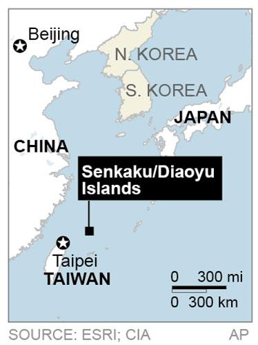 Map locates a disputed chain of islands between China, Taiwan and Japan called Senkaku in Japanese and Diaoyu in Chinese.