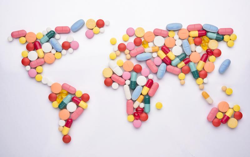Pills arranged to look like a map of the world.