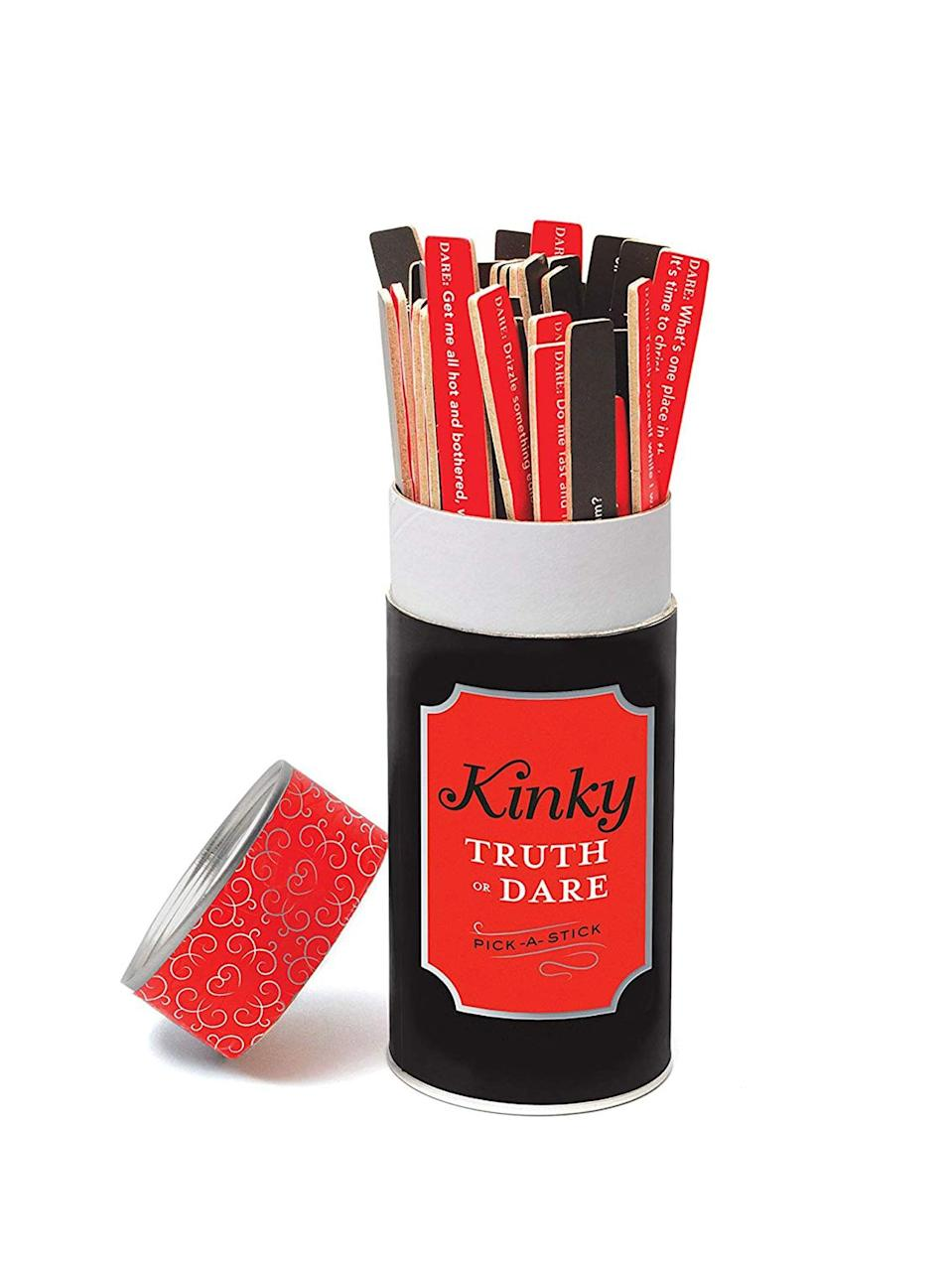 <p>Play a naughty game of <span>Chronicle Books Kinky Truth or Dare: Pick-a-Stick</span> ($13, originally $15).</p>