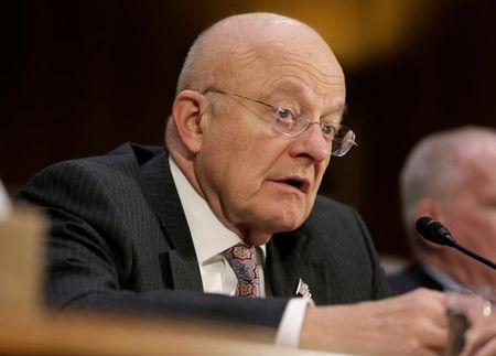 "James Clapper testifies to the Senate Select Committee on Intelligence hearing on ""Russia's intelligence activities"" on Capitol Hill in Washington"