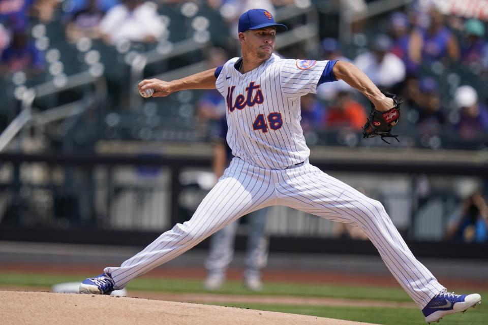 New York Mets' Jacob deGrom delivers a pitch during the first inning of the first baseball game of a doubleheader against the Milwaukee Brewers Wednesday, July 7, 2021, in New York. (AP Photo/Frank Franklin II)