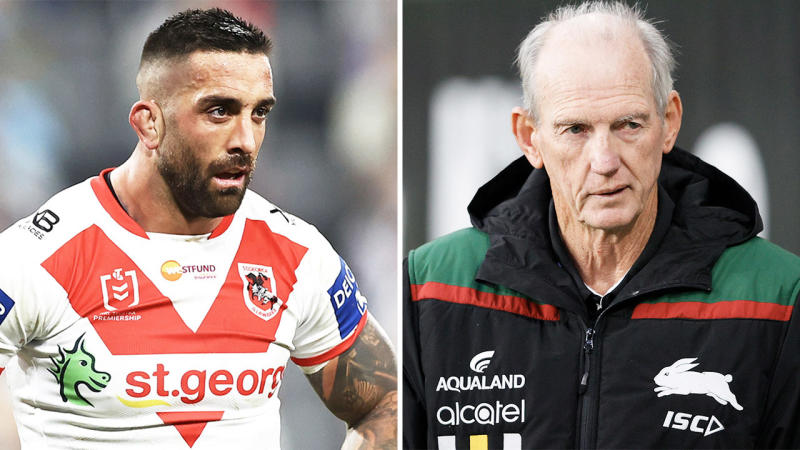 Paul Vaughan (pictured left) looking tired in the NRL match and Wayne Bennett (pictured right) during training.