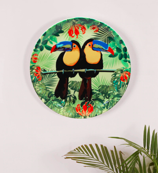 "A throwback to rainforest rendezvous with the 10-inch, ceramic <a href=""https://fave.co/2L7gJQm"" rel=""nofollow noopener"" target=""_blank"" data-ylk=""slk:Toucan wall plate by Kolorobia"" class=""link rapid-noclick-resp""><strong>Toucan wall plate by Kolorobia</strong></a>. <em>Rs.1,489 on offer. </em><a href=""https://fave.co/2L7gJQm"" rel=""nofollow noopener"" target=""_blank"" data-ylk=""slk:Flash sale!"" class=""link rapid-noclick-resp""><strong>Flash sale!</strong></a>"