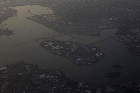 Rikers Island and the Rikers Island jail complex is seen in this aerial photograph over New York