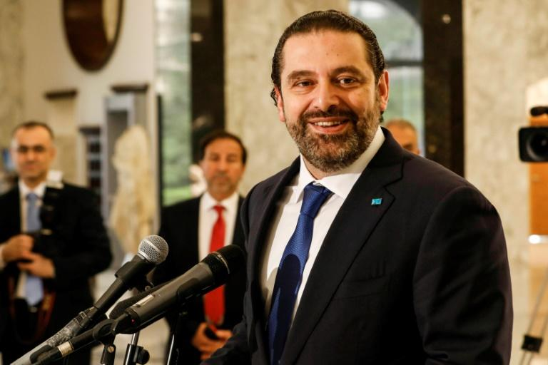Lebanon's prime minister-designate Saad Hariri speaks at the presidential palace on May 24, 2018 after being tasked to form a new government