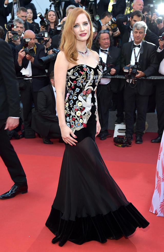 """<p>Jury member <a href=""""https://www.yahoo.com/movies/tagged/jessica-chastain"""" data-ylk=""""slk:Jessica Chastain"""" class=""""link rapid-noclick-resp"""">Jessica Chastain</a> at the <em>Ismael's Ghosts</em> (<em>Les Fantomes d'Ismael</em>) screening and Opening Gala at the <a href=""""https://www.yahoo.com/movies/tagged/cannes-film-festival"""" data-ylk=""""slk:Cannes Film Festival"""" class=""""link rapid-noclick-resp"""">Cannes Film Festival</a> on May 17, 2017 (Photo: Pascal Le Segretain/Getty Images) </p>"""