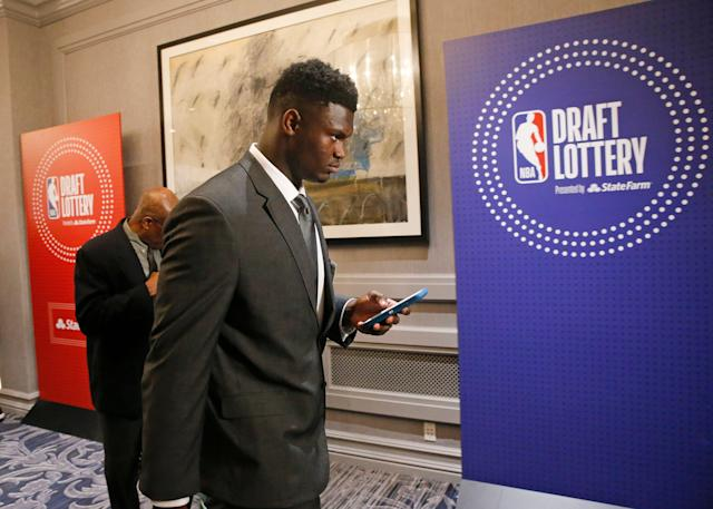 Duke's Zion Williamson arrives for the NBA draft lottery Tuesday in Chicago. (AP Photo/Nuccio DiNuzzo)