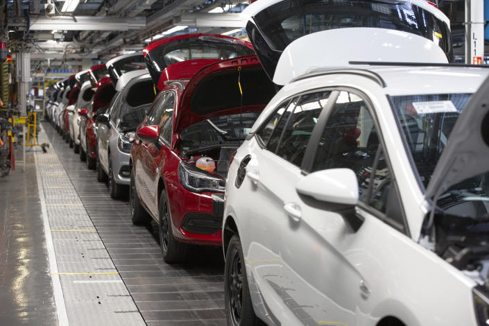 A line of cars on a car assembly line at the Vauxhall car factory during preparedness tests and redesign ahead of re-opening following the COVID-19 outbreak. Located in Ellesmere Port, Wirral, the factory opened in 1962 and currently employs around 1100 workers. It ceased production on 17 March 2020 and will only resume work upon the advice of the UK Government, which will involve stringent physical distancing measures being in place across the site. (Photo by Colin McPherson/Corbis via Getty Images)