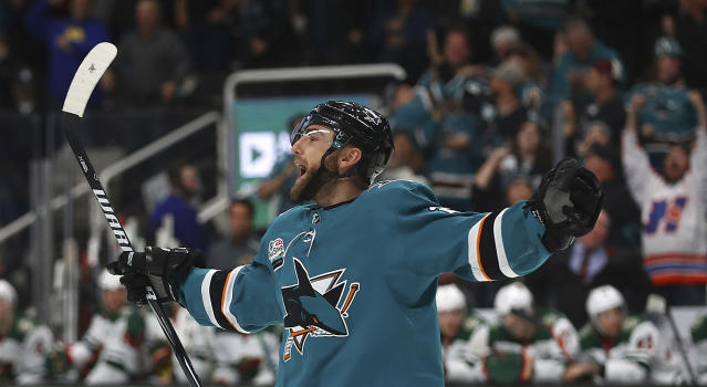 San Jose Sharks' Barclay Goodrow celebrates after scoring a goal against the Minnesota Wild during the third period of an NHL hockey game Tuesday, Nov. 6, 2018, in San Jose, Calif. (AP Photo/Ben Margot)