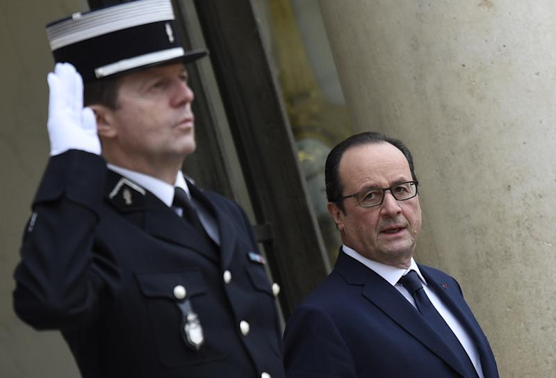 French president Francois Hollande at the Elysee Palace in Paris, on January 28, 2015