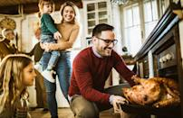 """<p>Getting everything on the table hot and on time is perhaps the biggest struggle at Thanksgiving. Taking your turkey out about one hour before you eat, however, can help you achieve this goal, as it will free up that highly coveted oven space to heat up <a href=""""https://www.thedailymeal.com/cook/comfort-casserole-breakfast-dinner-recipes?referrer=yahoo&category=beauty_food&include_utm=1&utm_medium=referral&utm_source=yahoo&utm_campaign=feed"""" rel=""""nofollow noopener"""" target=""""_blank"""" data-ylk=""""slk:various casseroles"""" class=""""link rapid-noclick-resp"""">various casseroles</a> and other sides.</p>"""