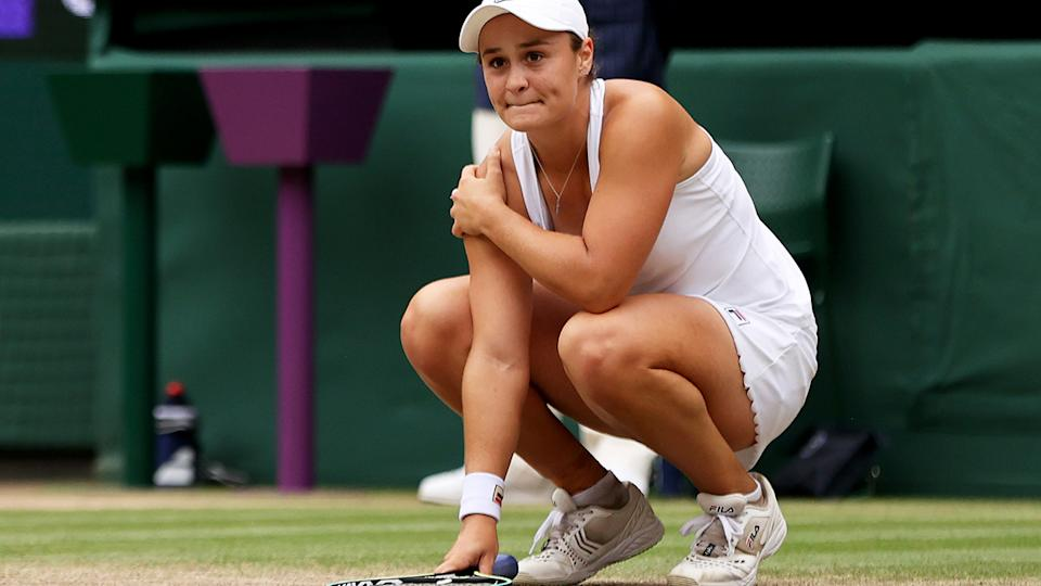 Ash Barty, pictured here after beating Karolina Pliskova in the Wimbledon final.