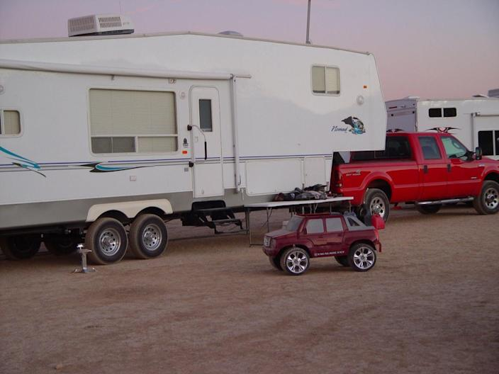 Charles Brian Margeson of Torrance, California purchased a 2006 Ford F-350 that routinely broke down when he hauled his trailer. He sued Ford Motor Co. for fraud and his case was upheld on appeal in September. This image of his vehicle was taken in California City, California circa 2008.