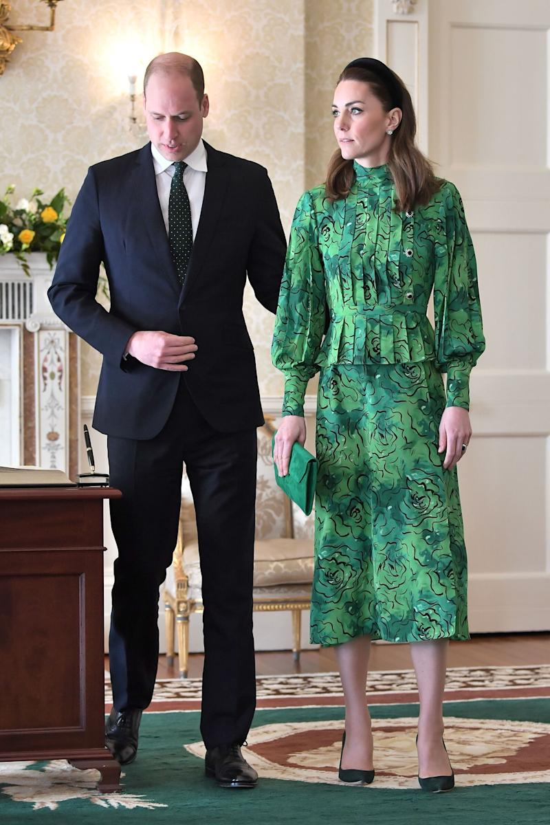 The Duke and Duchess of Cambridge arrive for a meeting with the president of Ireland at Áras an Uachtaráin in Dublin on Tuesday. (Photo: Samir Hussein via Getty Images)