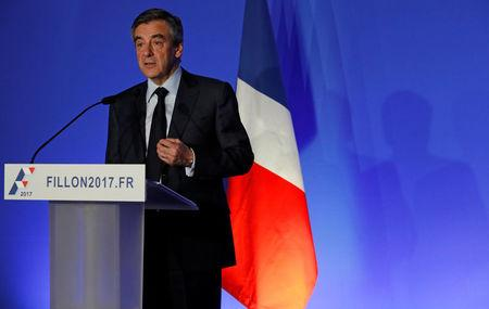 """Francois Fillon, former French prime minister, member of the Republicains political party and 2017 presidential candidate of the French centre-right, attends a news conference to present his """"project for France"""" in Paris, France, March 13, 2017.   REUTERS/Philippe Wojazer"""