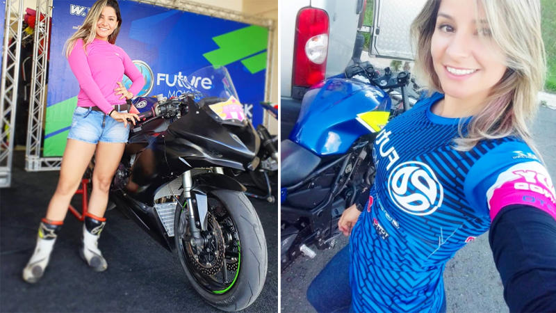 Indiana Munoz, pictured here with her beloved motorcycles.