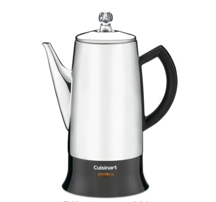 """<p><strong>Cuisinart</strong></p><p>amazon.com</p><p><strong>$69.95</strong></p><p><a href=""""https://www.amazon.com/dp/B000A7HFX8?tag=syn-yahoo-20&ascsubtag=%5Bartid%7C1782.g.36303210%5Bsrc%7Cyahoo-us"""" rel=""""nofollow noopener"""" target=""""_blank"""" data-ylk=""""slk:BUY NOW"""" class=""""link rapid-noclick-resp"""">BUY NOW</a></p><p>Cuisinart's percolator has nearly five stars after thousands of Amazon reviews. The coffee section also has measuring notches so you can fill it according to the amount you wish to make.</p>"""