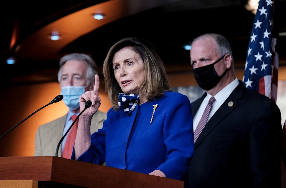 WASHINGTON, DC - JULY 24: U.S. Speaker of the House Rep. Nancy Pelosi (D-CA) speaks during a news conference on July 24, 2020 in Washington, DC. House Democrats urge House Republicans to extend unemployment benefits that was passed as part of the CARES Act which is due to expire on July 31, 2020. (Photo by Michael A. McCoy/Getty Images)