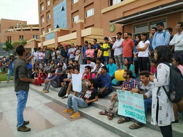 Students of Azim Premji University protest in solidarity with TISS, Hyderabad.