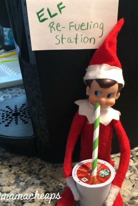 """<p>Hey, even elves need caffeine! Take advantage of the tiny size of your <a href=""""https://www.countryliving.com/home-maintenance/cleaning/a20901319/how-to-clean-a-keurig/"""" rel=""""nofollow noopener"""" target=""""_blank"""" data-ylk=""""slk:K-Cup"""" class=""""link rapid-noclick-resp"""">K-Cup</a> accessories with this cunning idea.</p><p><strong>Get the tutorial at <a href=""""https://www.mamacheaps.com/elf-on-the-shelf-ideas/"""" rel=""""nofollow noopener"""" target=""""_blank"""" data-ylk=""""slk:Mama Cheaps"""" class=""""link rapid-noclick-resp"""">Mama Cheaps</a>. </strong></p><p><strong><a class=""""link rapid-noclick-resp"""" href=""""https://www.amazon.com/Mountain-Keurig-Variety-Single-Serve-Sampler/dp/B071Z8LD77?tag=syn-yahoo-20&ascsubtag=%5Bartid%7C10050.g.22690552%5Bsrc%7Cyahoo-us"""" rel=""""nofollow noopener"""" target=""""_blank"""" data-ylk=""""slk:SHOP K-CUPS"""">SHOP K-CUPS</a><br></strong></p>"""