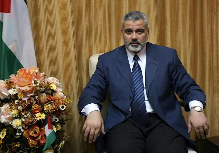 """Palestinian Prime Minister and leader of the Hamas movement Ismail Haniya says there is """"no war against Gaza looming on the horizon"""" (AFP Photo/Said Khatib)"""