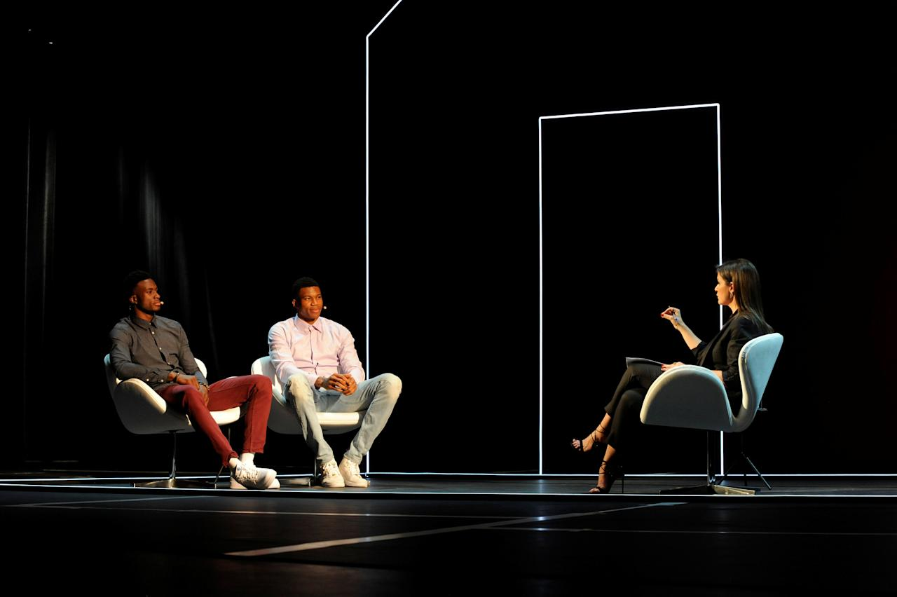 Greek basketball players, brothers Thanassis (L) and Giannis (2nd L) Antetokounmpo attend an event at the Onassis Cultural Centre in Athens, Greece, June 24, 2017. Picture taken June 24, 2017.  REUTERS/Michalis Karagiannis