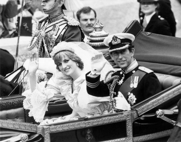 PHOTO: Princess Diana and Prince Charles of Wales wave to the crowd from their carriage following their wedding ceremony, London, July 29, 1981. (Express/Getty Images, FILE)