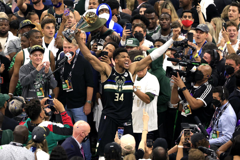 Giannis Antetokounmpo took his seat on the NBA pantheon on Tuesday. (Justin Casterline/Getty Images)