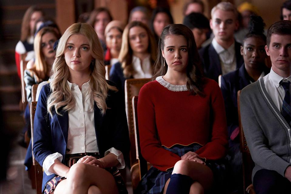 """<p>This spinoff of <b>The Vampire Diaries</b> and <b>The Originals</b> centers around 17-year-old Hope Mikaelson as she attends Salvatore School For the Young and Gifted, where young witches, vampires, and werewolves learn to overcome villainous impulses. Though <strong><a class=""""link rapid-noclick-resp"""" href=""""https://www.popsugar.co.uk/Gossip-Girl"""" rel=""""nofollow noopener"""" target=""""_blank"""" data-ylk=""""slk:Gossip Girl"""">Gossip Girl</a> </strong>doesn't involve any witches (just some characters who you could call a word that rhymes with witches. . .), Salvatore will definitely remind you of the enviable and endlessly preppy Constance Billard School for Girls. </p> <p><strong>Where to watch: </strong><a href=""""http://www.cwtv.com/shows/legacies/?campaign=google_kp_watch"""" class=""""link rapid-noclick-resp"""" rel=""""nofollow noopener"""" target=""""_blank"""" data-ylk=""""slk:CW TV"""">CW TV</a></p>"""