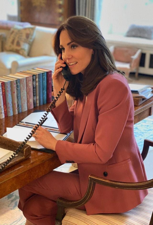 Kate pictured carrying out a meeting with Place2Be chief executive officer Catherine Roche by phone because of the coronavirus lockdown. Kensington Palace