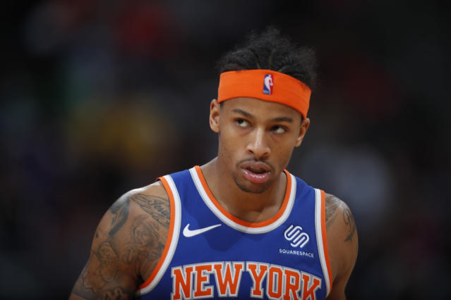 "<a class=""link rapid-noclick-resp"" href=""/nba/teams/nyk/"" data-ylk=""slk:New York Knicks"">New York Knicks</a> guard <a class=""link rapid-noclick-resp"" href=""/nba/players/5160/"" data-ylk=""slk:Trey Burke"">Trey Burke</a> is among the intriguing fantasy adds if you're looking for help in a particular category. (AP Photo/David Zalubowski)"