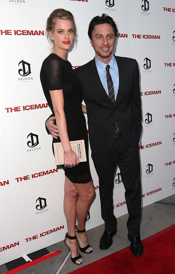 """HOLLYWOOD, CA - APRIL 22:  Model Taylor Bagley (L) and actor Zach Braff attend the Los Angeles special screening of Millennium Entertainment's """"The Iceman"""" at ArcLight Hollywood on April 22, 2013 in Hollywood, California.  (Photo by David Livingston/Getty Images)"""