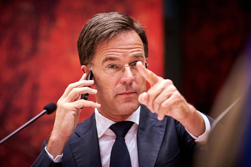 Dutch Prime Minister Mark Rutte gestures as he phones during the debate in the House of Representatives on the outcome of the European Summit on the recovery fund, in The Hague on September 9, 2020. (Photo by Phil nijhuis / ANP / AFP) / Netherlands OUT (Photo by PHIL NIJHUIS/ANP/AFP via Getty Images) (Photo: PHIL NIJHUIS via Getty Images)